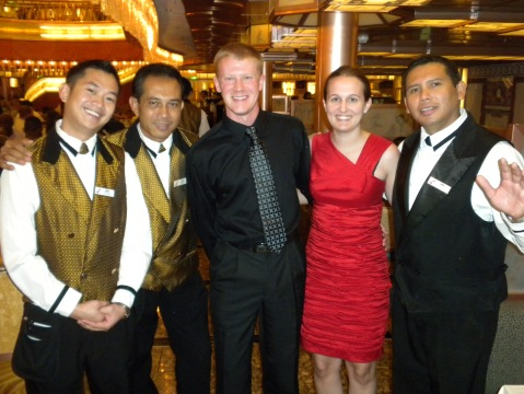 With the wait staff that had served us all week on the cruise