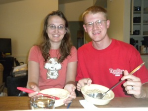 Our first breakfast in our new home, and before we had unpacked the silverware so we ate oatmeal with spatulas!