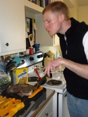 Andy mastering the indoor grill.