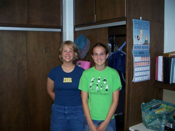 With my roommate on freshman move-in day