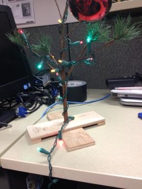My Charlie Brown Tree, making my desk at work festive.