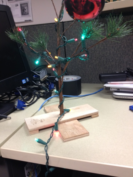 My Charlie Brown Tree, making my desk at work festive.