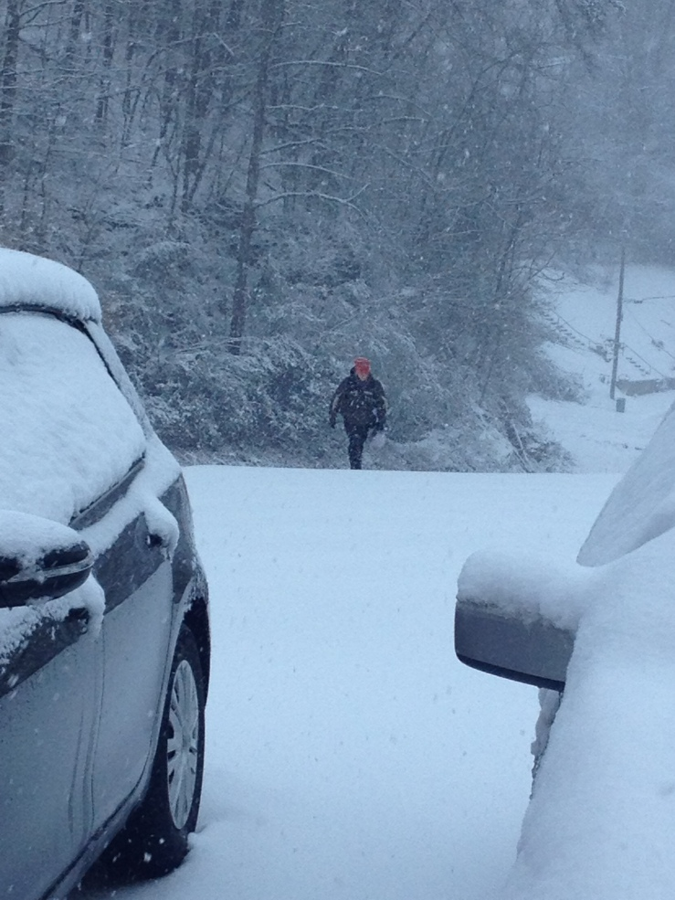 Andy walking home at the height of the snow storm last week