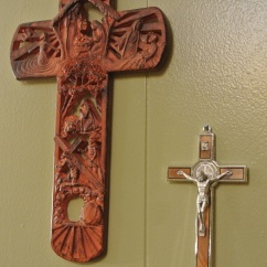 We received these at Christmastime. Andy's brother got him the crucifix in Rome.