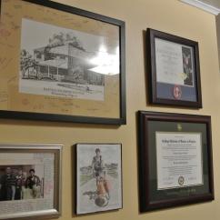 Andy's wall of accomplishment.