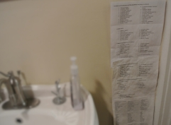 Spanish words to memorize in the bathroom in preparation for our mission trip to the Dominican Republic this summer.